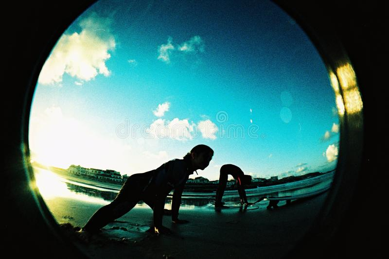 Fisheye Lens Showing Person at Daytime stock photo