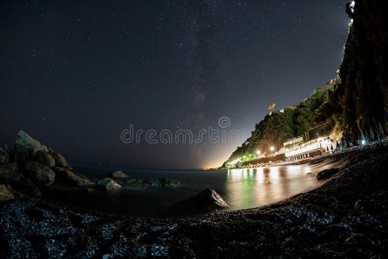Fisheye-MilyWay above Arenzano royalty free stock photography