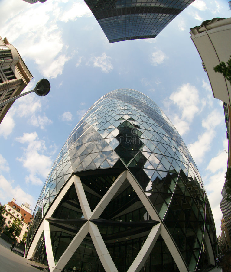 Fisheye of swiss re building stock images