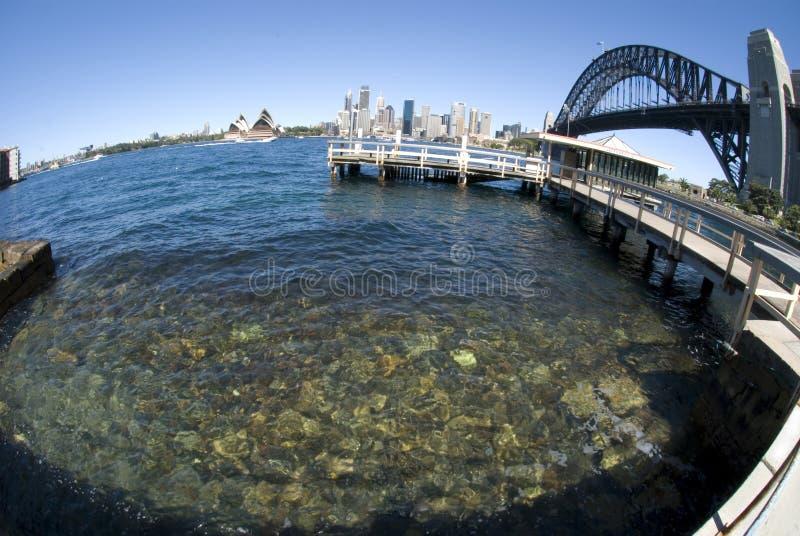 fisheye Sydney harbour mostu obrazy stock