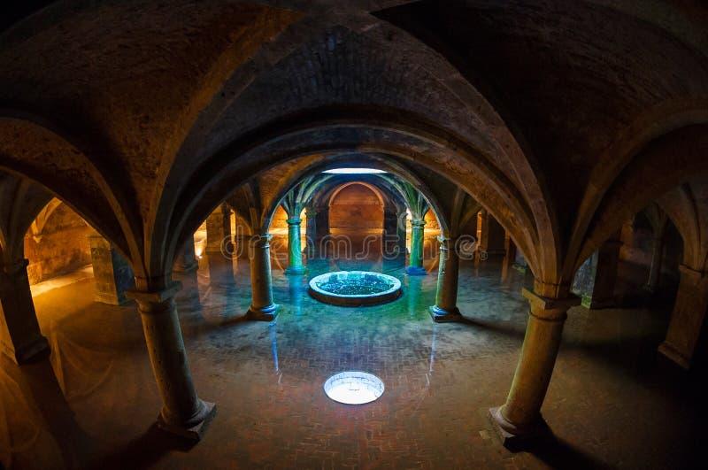 Fisheye and vaulting. Wonderful subterranean reservoir water flooding royalty free stock photos