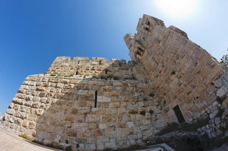 Fisheye view of an ancient citadel in Jerusalem royalty free stock photography