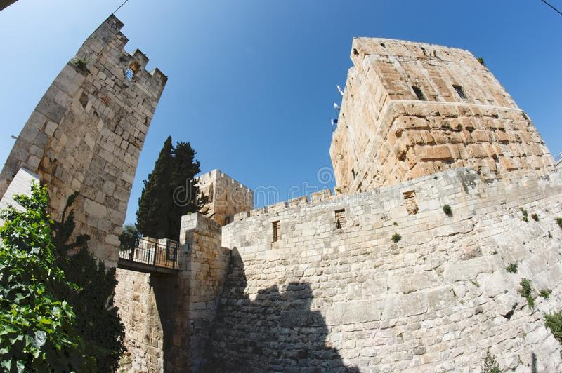 Fisheye view of an ancient citadel in Jerusalem. Old City in bright summer day royalty free stock photo