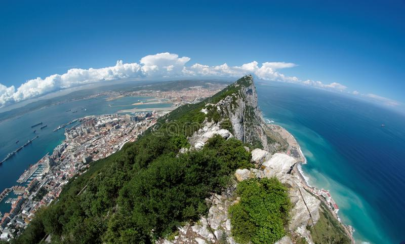 Fisheye view of Gibraltar rock, bay and town from stock image