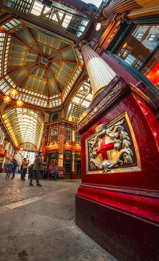 Fisheye view of interior of Leadenhall Market, The City, London, England, United Kingdom, Europe stock images