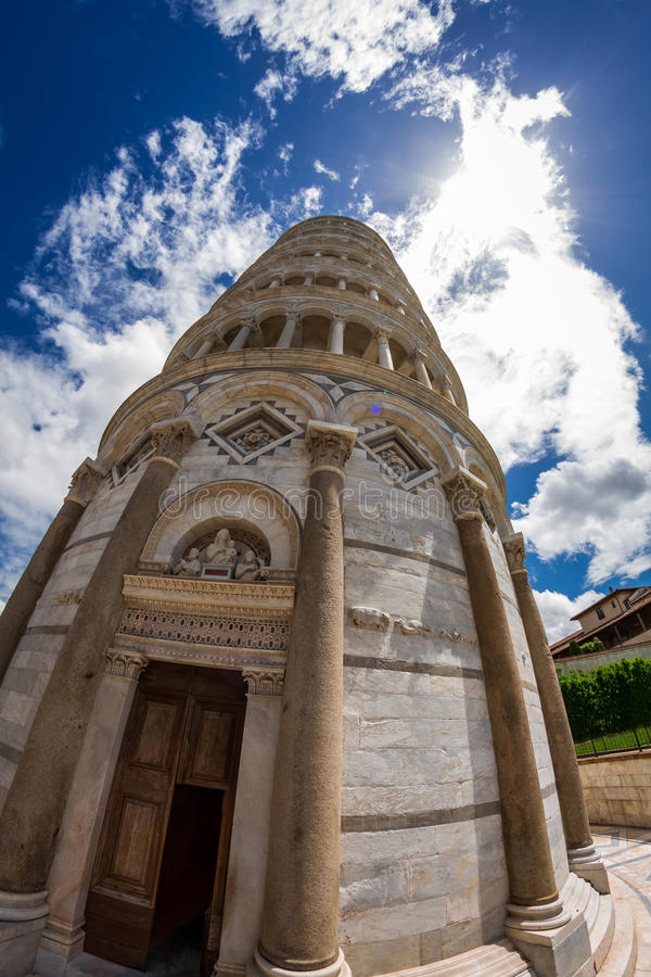 Fisheye view the Leaning Tower of Pisa stock photo