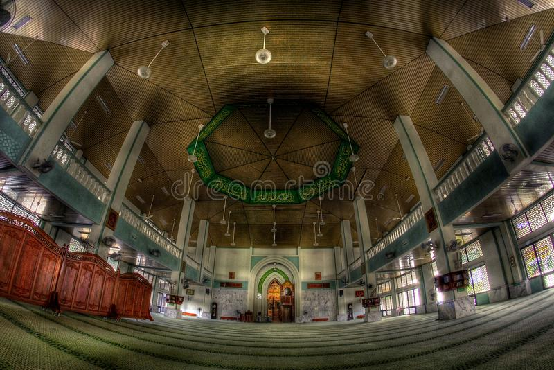 Fisheye view in a mosque royalty free stock photos