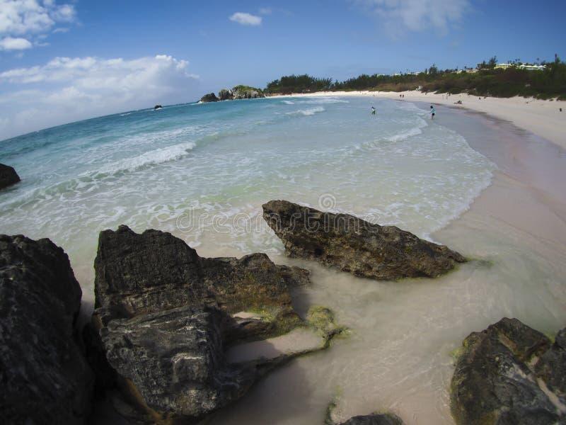 Fisheye view of pink sand beach, Bermuda, tropics stock photos