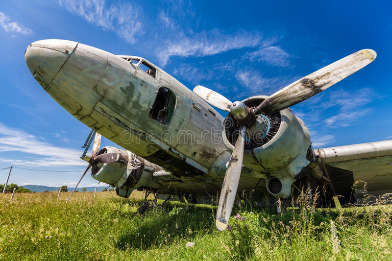 Fisheye view of the remains DC3 aircraft royalty free stock photos