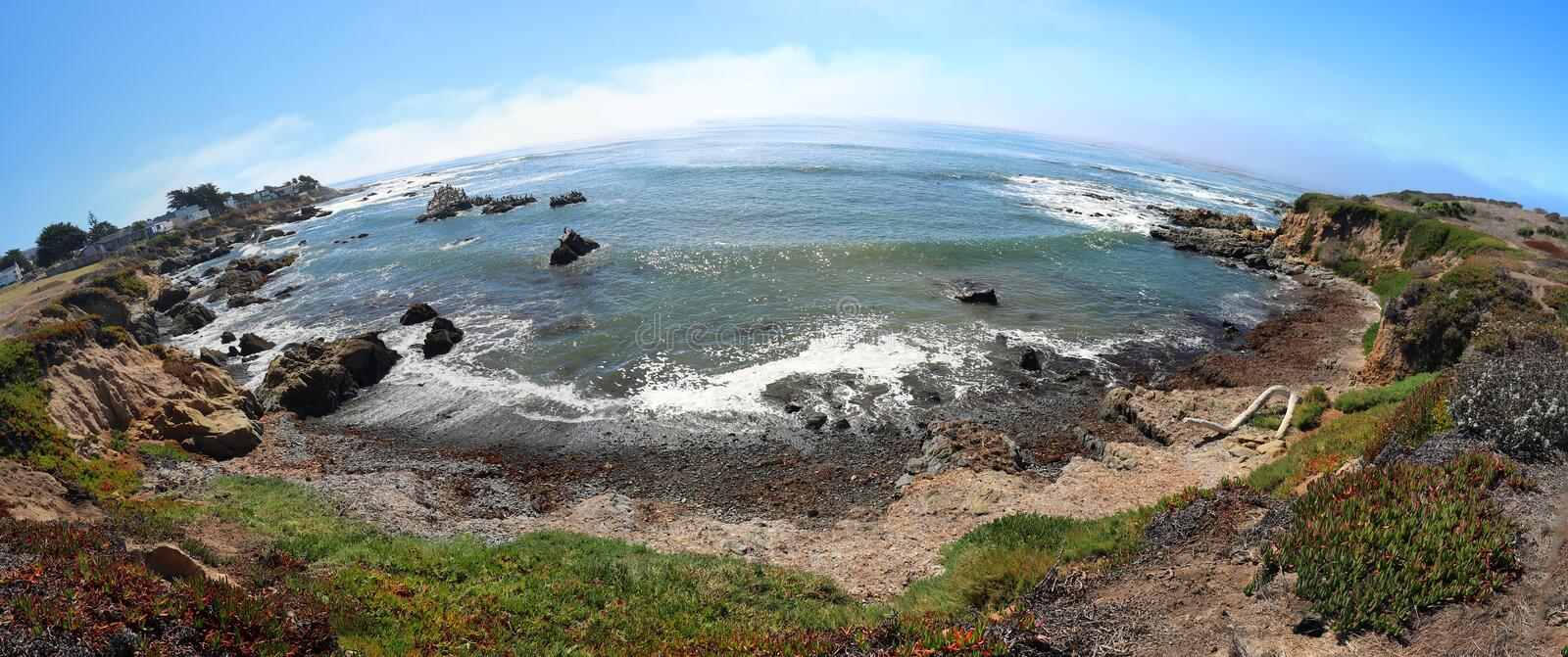 Fisheye view of rugged Central California coastline at Cambria California USA royalty free stock photography