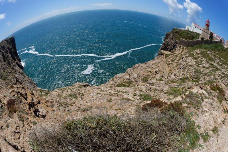 Fisheyemening van Heilige Vincent Cape en vuurtoren in Algarve, Portugal stock fotografie