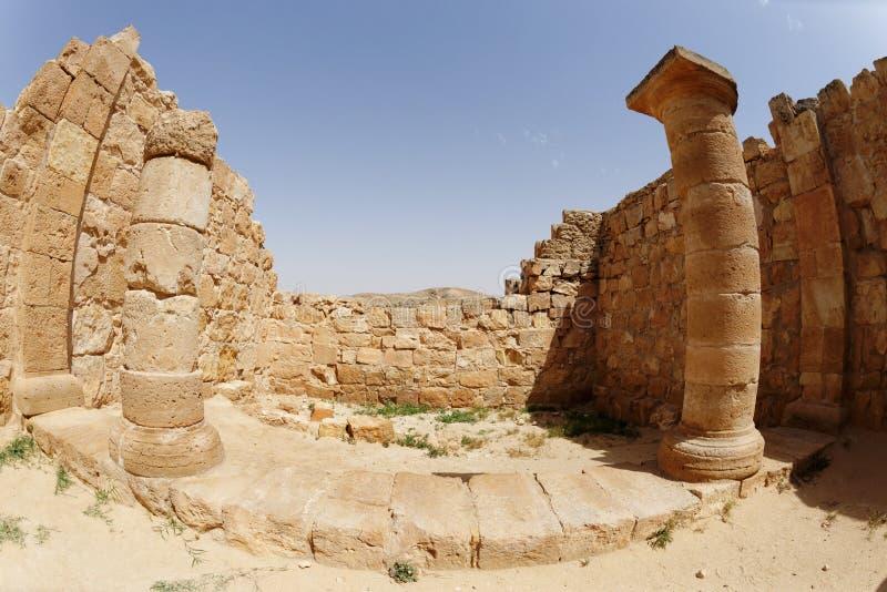 Fisheyemening van oude tempelcolonnade in Avdat, Israël royalty-vrije stock fotografie