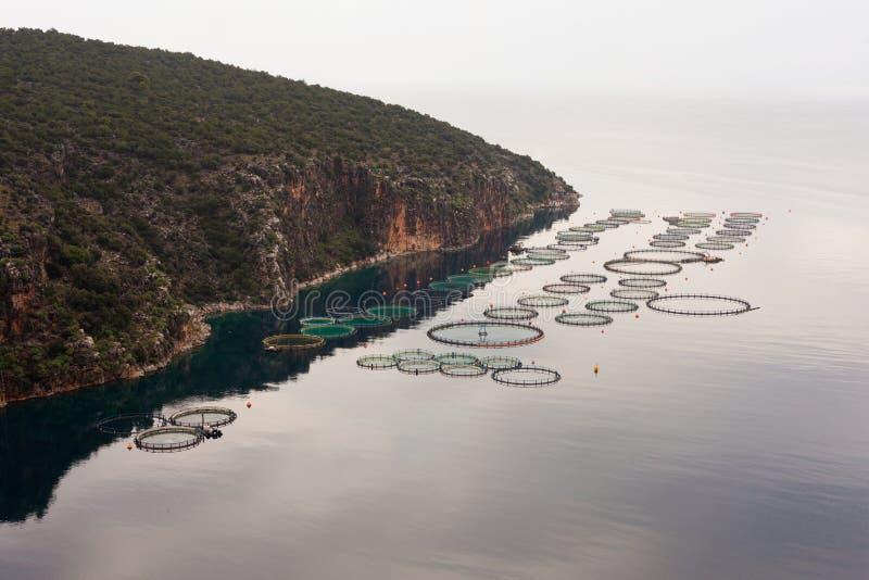 Fishfarm a pouca distância do mar do mar aberto fotos de stock