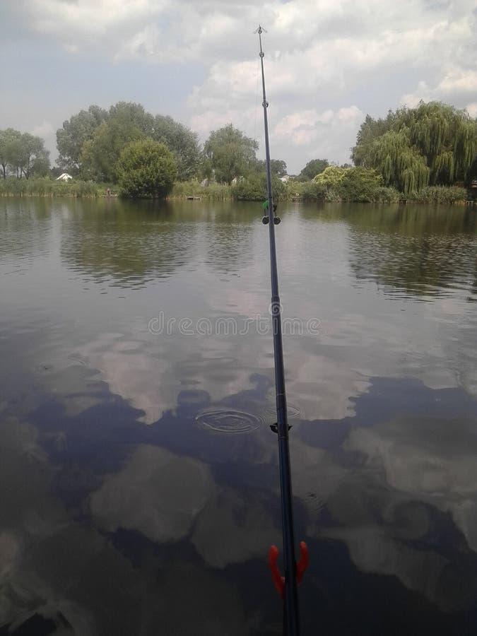 Fishing湖蜻蜓云彩 库存照片