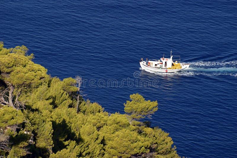 Fishing. Boat in a sea arround Zakynthos in Greece stock images