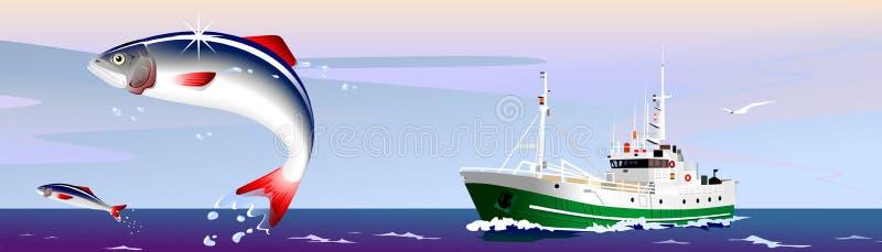 Download Fishing stock illustration. Image of team, ocean, herring - 14191566