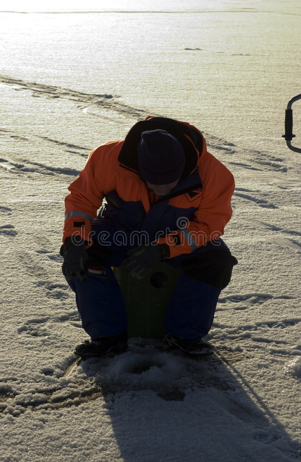 Download Fishing stock photo. Image of fishing, snow, sitting, clothing - 464526