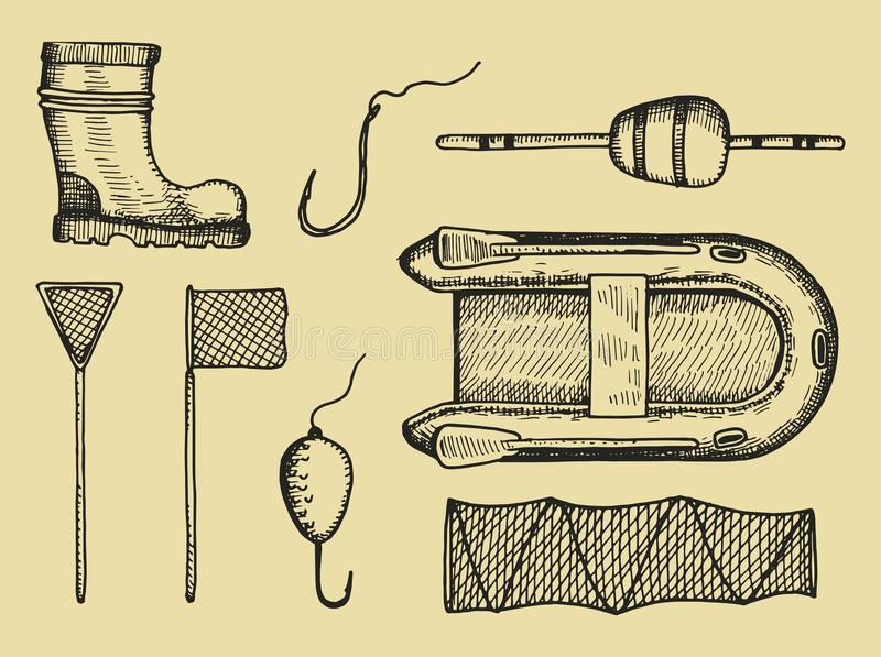 Fishing accessories set sketch. Vector hand drawing. Icon vector illustration