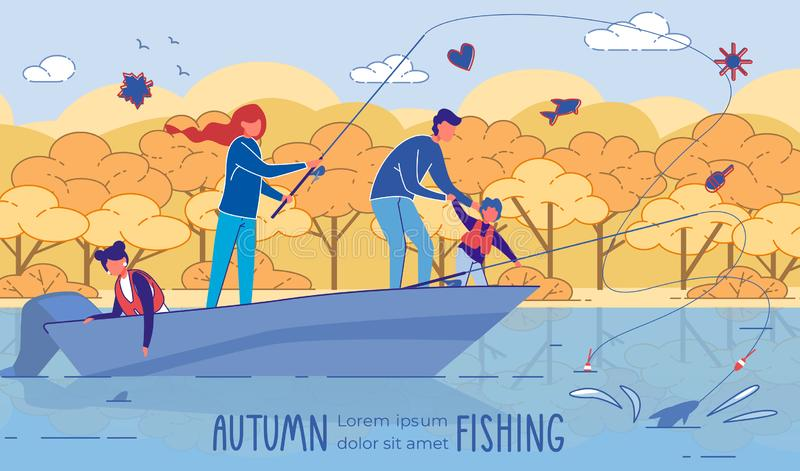 Fishing Adventures and Camping Trip with Family stock illustration