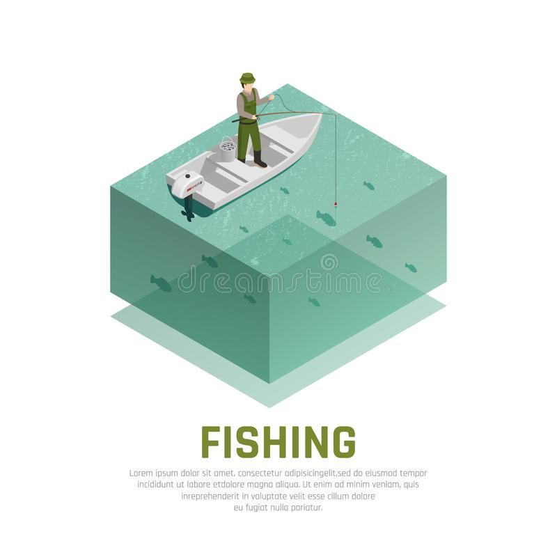 Fishing Alone Isometric Background vector illustration
