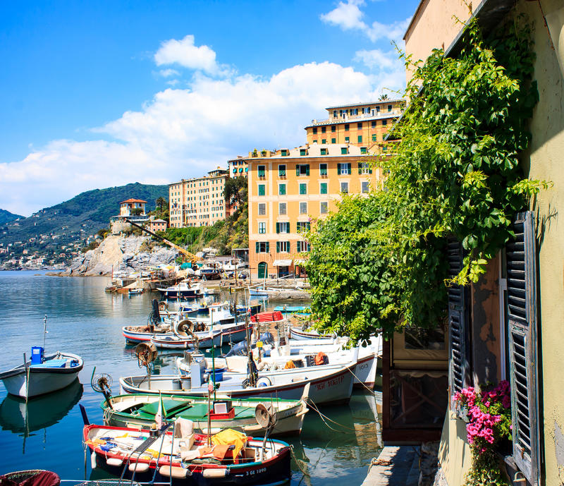 Fishing area. Village Camogli, sea bay royalty free stock images