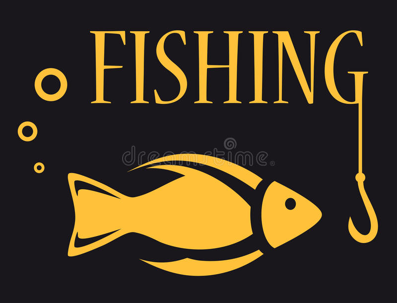 Fishing background. Black background for fishing equipment with fish, rod and hook stock illustration