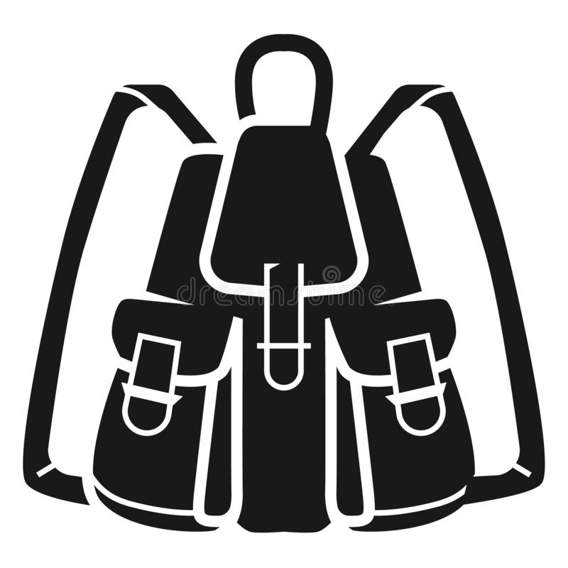 Fishing backpack icon, simple style. Fishing backpack icon. Simple illustration of fishing backpack vector icon for web design isolated on white background royalty free illustration