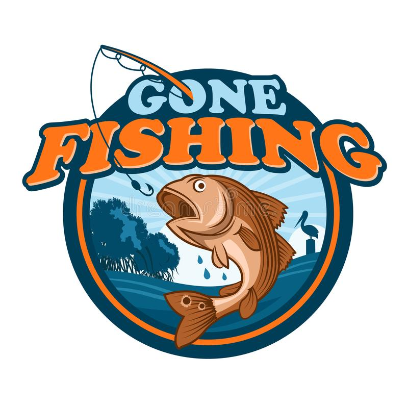 Gone Fishing Badge royalty free illustration