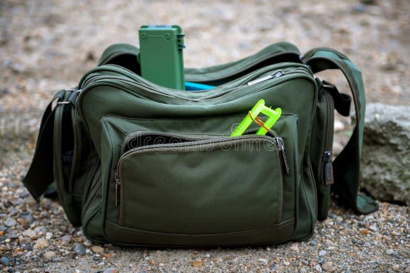 Fishing bag outside stock image