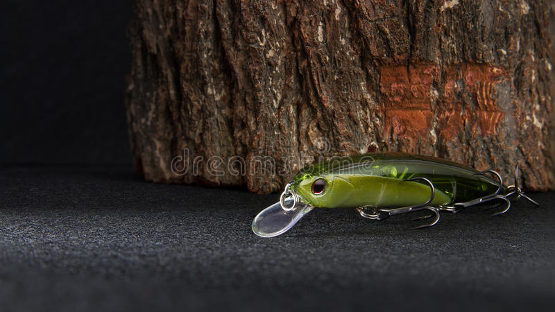 Fishing baits and gear for catching predatory fish stock images