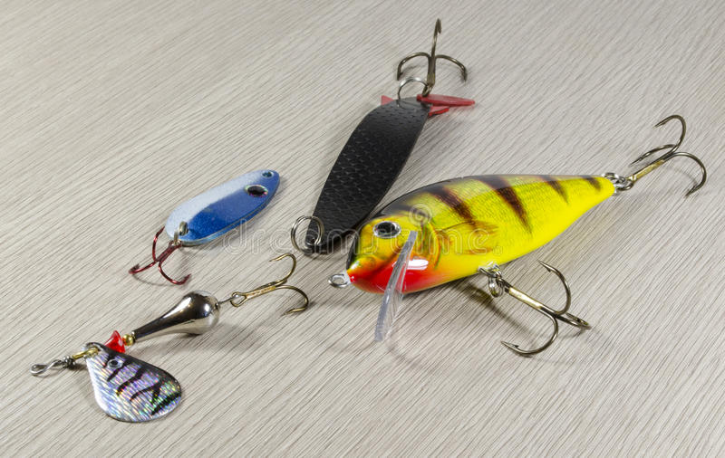 Fishing baits stock photo