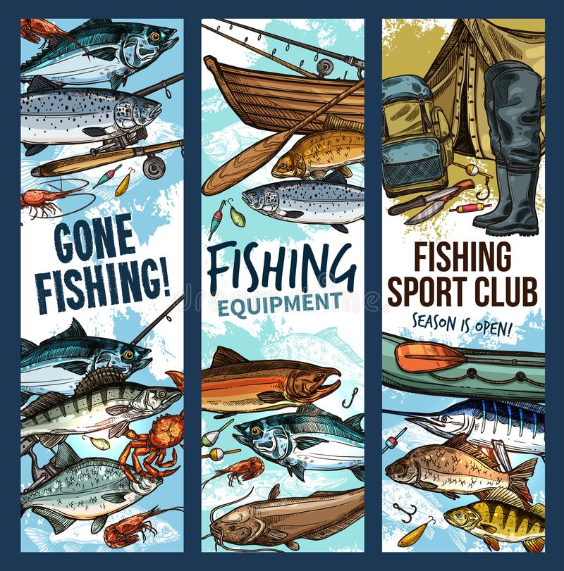 Fishing banner with fishing equipment and fish. Fishing sketch banner with fishing equipment and catch fish for fisher sport club design. Fishing rod, hook and stock illustration