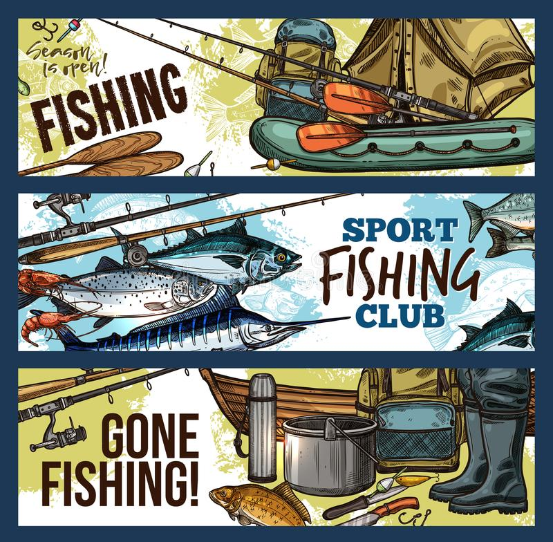 Fishing banner with fisherman tackle and fish. Fishing sport club sketch banner set with fisherman tackle, equipment and fish catch. Sea and river fish, fishing royalty free illustration