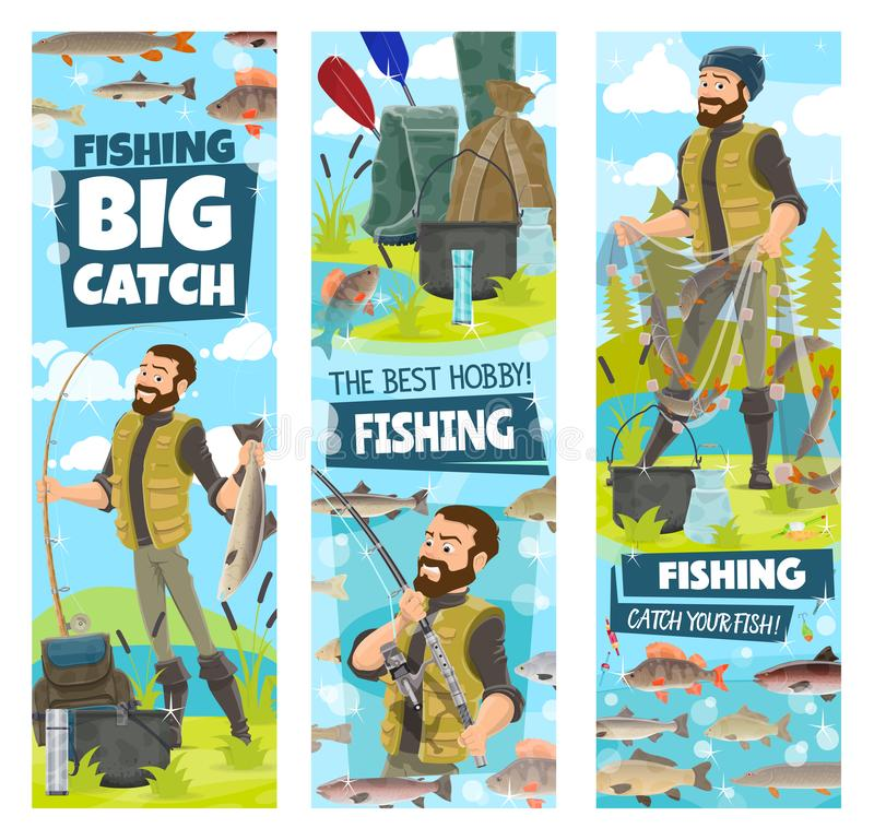Fishing and fisher man fish catch in net banners. Fishing banners for big catch poster with fisher man. Vector cartoon design of fisherman with fish in net with stock illustration
