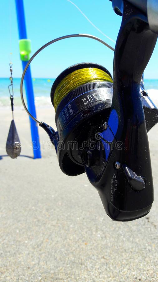 Fishing beach vocation fishingrod summer royalty free stock images