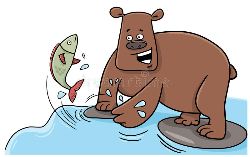 Fishing bear cartoon character. Cartoon Illustration of Bear Catching Fish in the River royalty free illustration