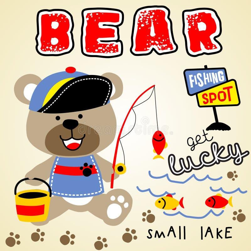 Fishing bear vector illustration
