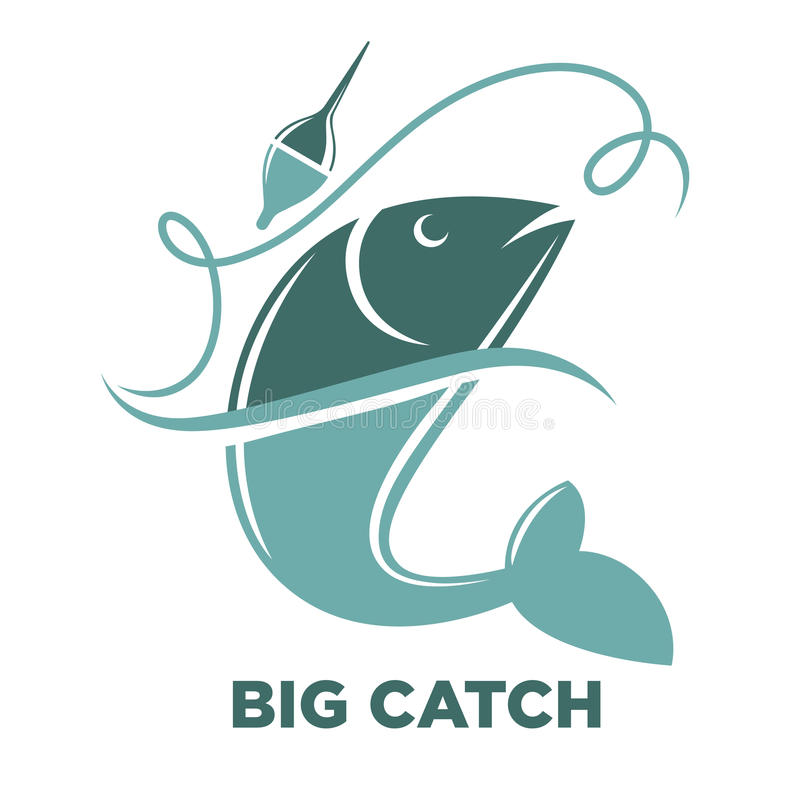 Fishing big fish catch vector isolated icon template stock illustration