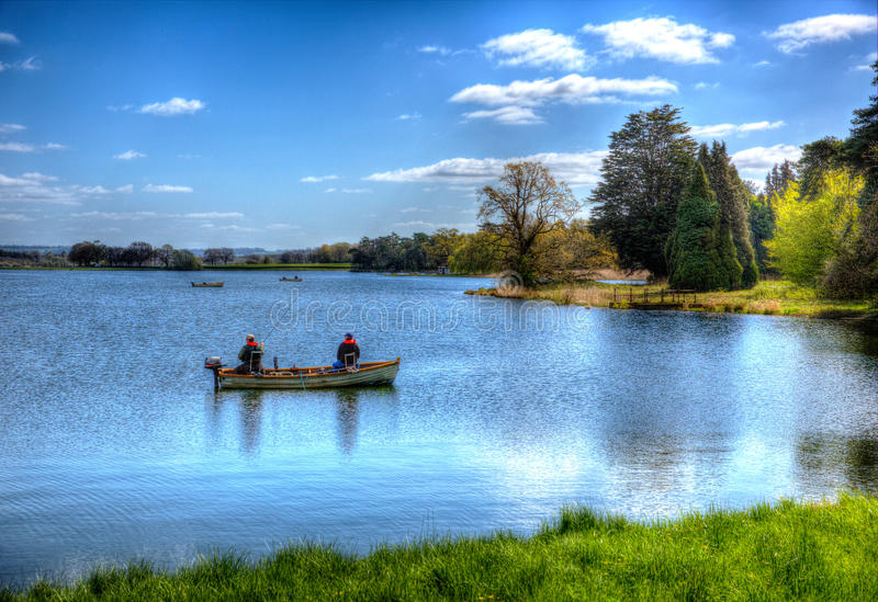 Fishing Blagdon Lake Somerset in Chew Valley at the edge of the Mendip Hills south of Bristol like painting in HDR. Fishing in Blagdon Lake Somerset in Chew royalty free stock photo