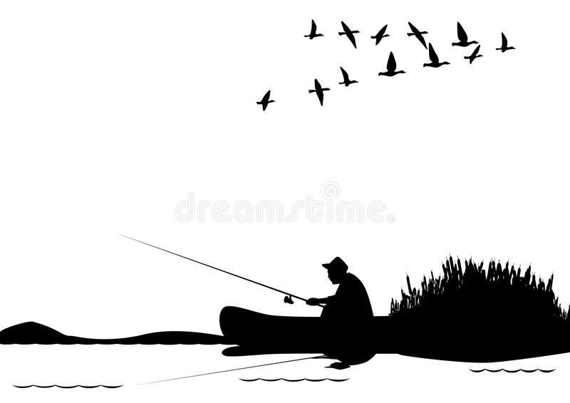 Fishing from a boat vector illustration