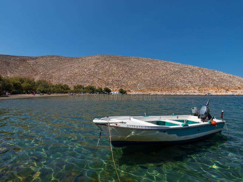 Fishing boat, on the island of Tinos, Greece. royalty free stock photography