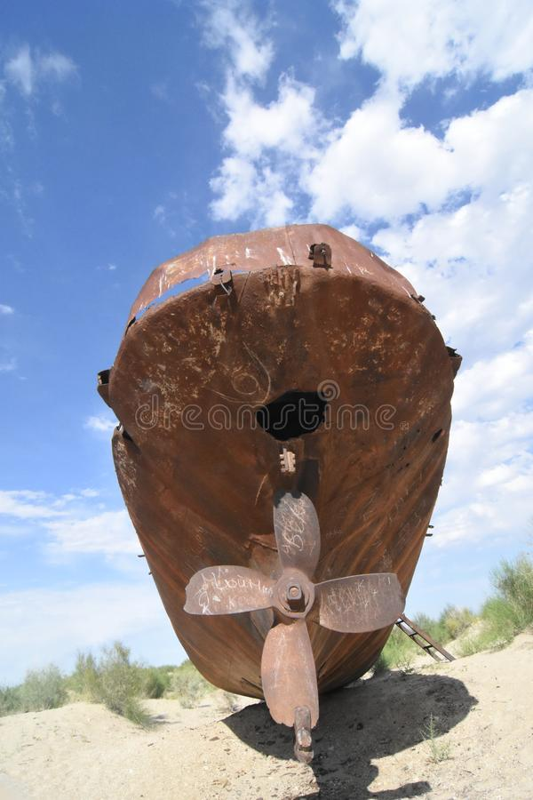 Fishing boat in Aral sea. Uzbekistan stock photos