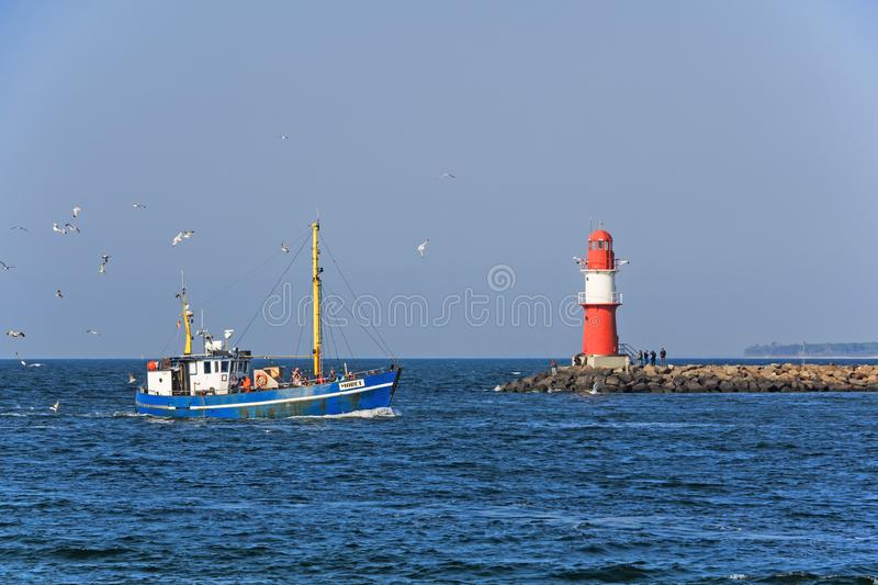 Fishing boat in the Baltic Sea at Rostock Warnemuende, Germany royalty free stock photos