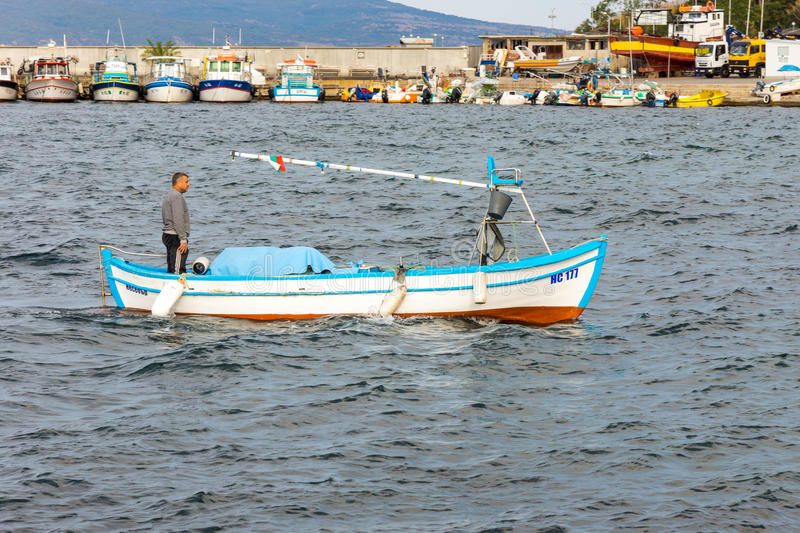Fishing boat in the Bay of Nessebar in Bulgaria royalty free stock photo