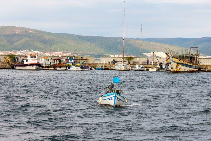 Fishing boat in the Bay of Nessebar, Bulgaria stock photo