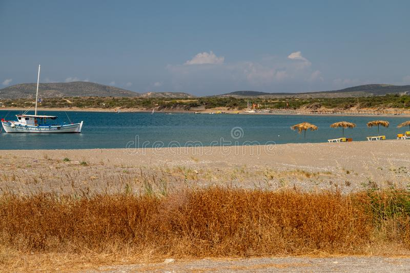 Fishing boat in the bay of Plimmiri at Rhodes island, Greece royalty free stock photos