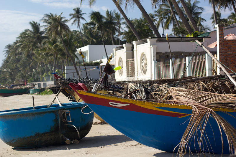 Fishing boat on the beach stock images