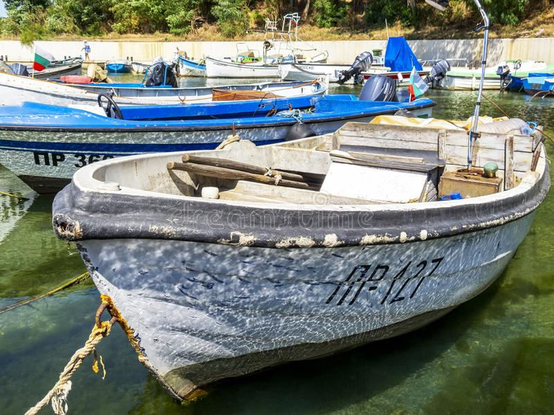 Fishing boat at a Bulgarian Black Sea Coast port royalty free stock photo