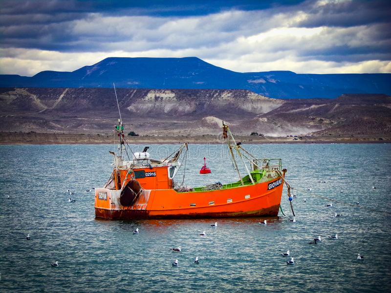 Fishing boat in Caleta Cordoba stock photo