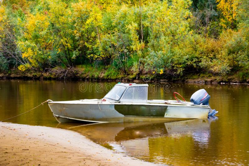 The  fishing boat in the channel Nadym river. Yamal. Arctic nature stock photos